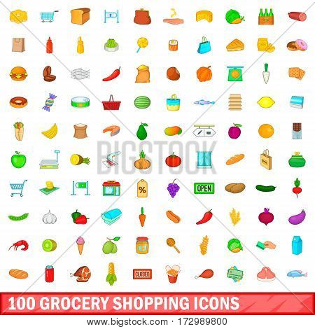 100 grocery shopping icons set in cartoon style for any design vector illustration