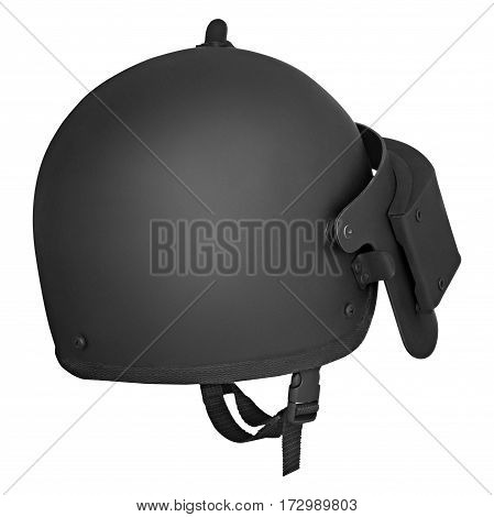Black military helmet, on a isolated white background