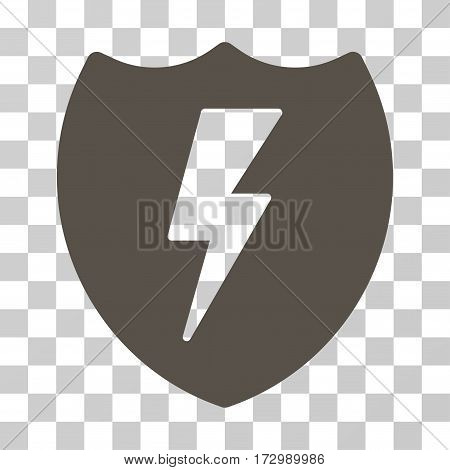 Electric Shield vector pictogram. Illustration style is flat iconic grey symbol on a transparent background.