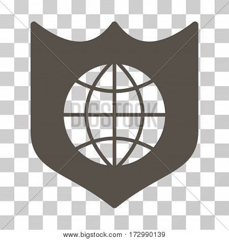Global Shield vector icon. Illustration style is flat iconic grey symbol on a transparent background.