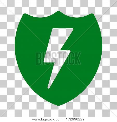 Electric Shield vector pictogram. Illustration style is flat iconic green symbol on a transparent background.
