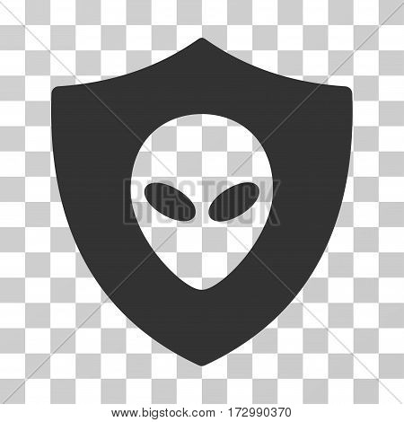 Alien Protection vector pictogram. Illustration style is flat iconic gray symbol on a transparent background.