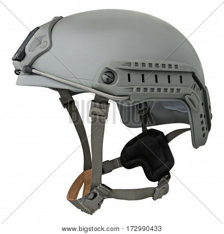 Grey military helmet, on a isolated white background