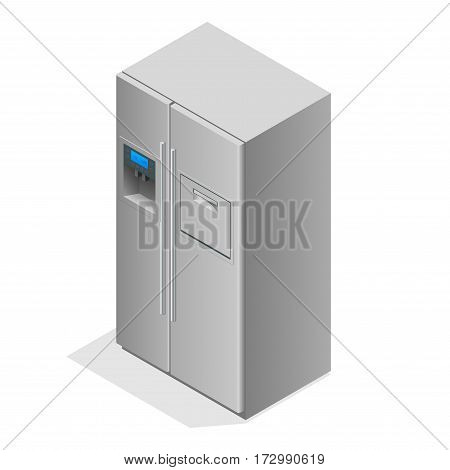Stainless steel modern refrigerator isolated on white. The external LED display, with blue glow. Fridge freezer. Flat 3d vector illustration.