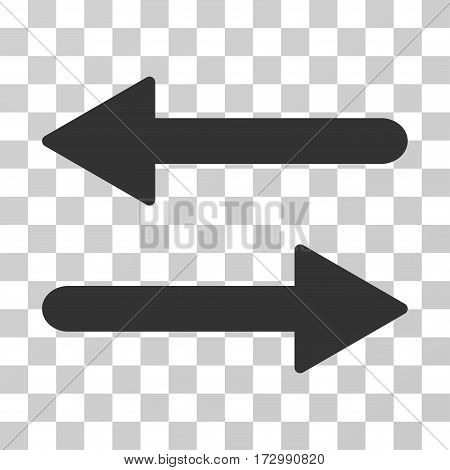 Arrows Exchange Horizontal vector pictogram. Illustration style is flat iconic gray symbol on a transparent background.
