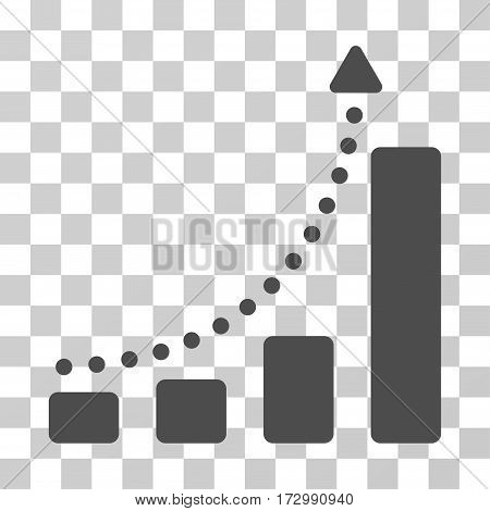 Bar Chart Trend vector icon. Illustration style is flat iconic gray symbol on a transparent background.