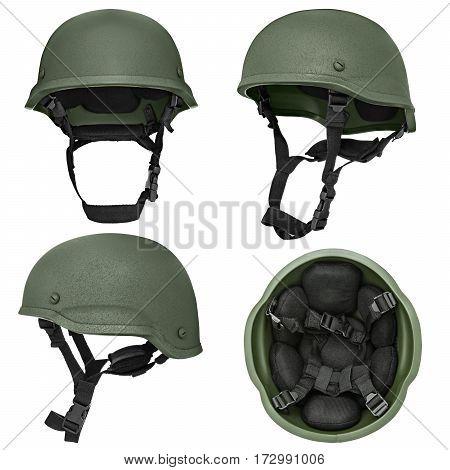 Green, khaki military helmet, isolated white background
