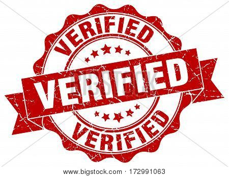 verified. stamp. sign. seal. round. retro. ribbon