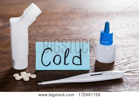 Close-up Of A Medication On Cold Concept At Wooden Desk