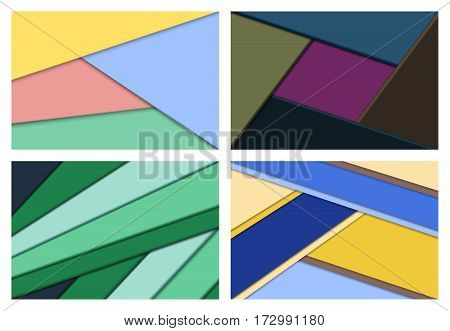 Set of material design abstract backgrounds in flat colors. Vector illustration.