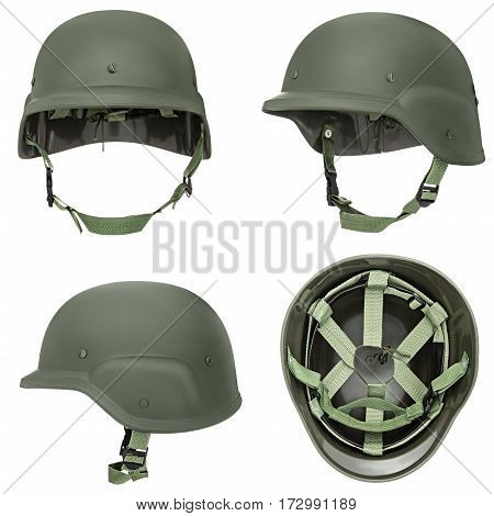 Green, khaki military helmet, isolated white background