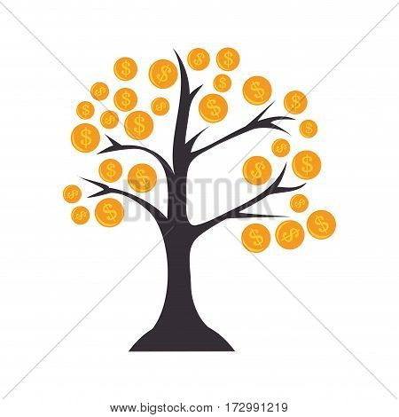 tree with coins icon vector illustration design