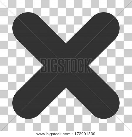 Cancel vector icon. Illustration style is flat iconic gray symbol on a transparent background.