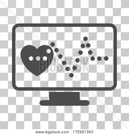 Cardio Monitoring vector pictograph. Illustration style is flat iconic gray symbol on a transparent background.