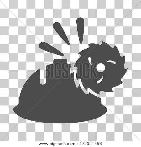 Circular Blade Head Protection vector pictogram. Illustration style is flat iconic gray symbol on a transparent background.