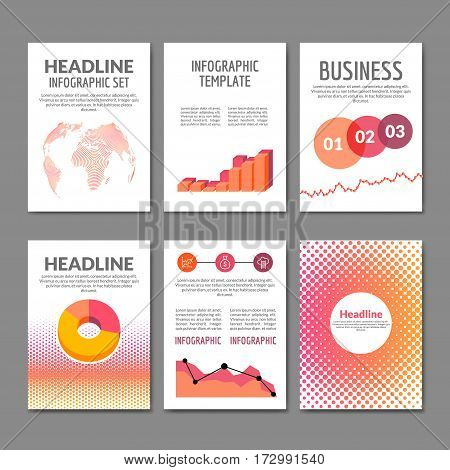 Business Flyer set. Brochure with infographics. Modern colorful design flyer templates. Mobile applications and Online Services Infographic.
