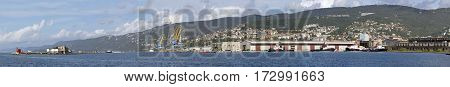 Panorama Harbour and Port of Trieste Italy