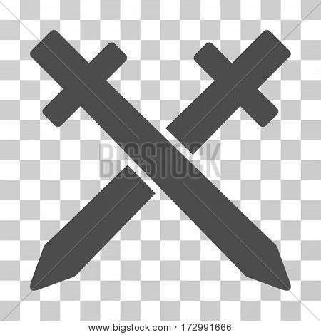 Crossing Swords vector pictograph. Illustration style is flat iconic gray symbol on a transparent background.