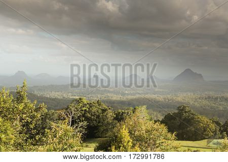 The Glasshouse House Mountain range in the Sunshine Coast region of Australia