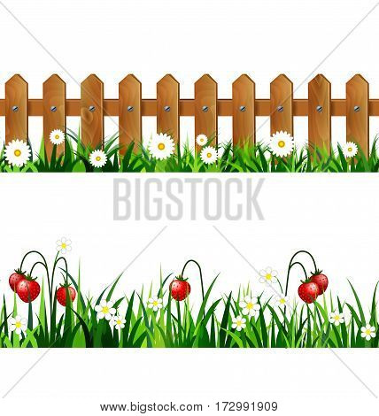 Green Grass set with strawberries and wooden fence with flowers borders seamless isolated clip art vector on white