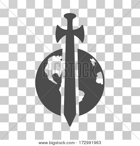 Earth Military Protection vector pictogram. Illustration style is flat iconic gray symbol on a transparent background.