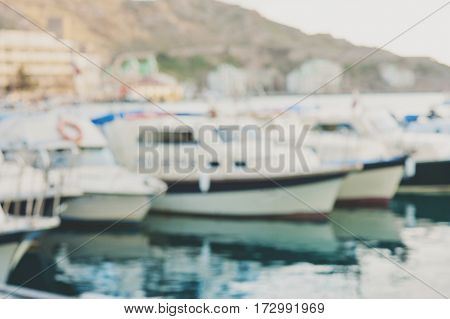 Abstract blurred Boats in the harbor. leisure holiday concept