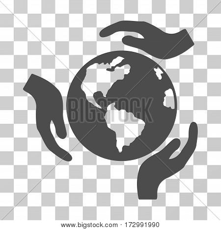 Earth Protection vector pictogram. Illustration style is flat iconic gray symbol on a transparent background.