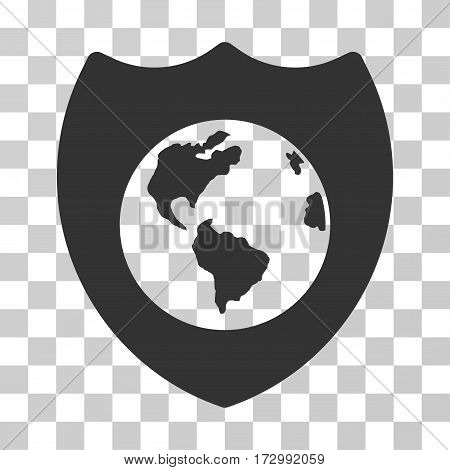 Earth Shield vector pictogram. Illustration style is flat iconic gray symbol on a transparent background.