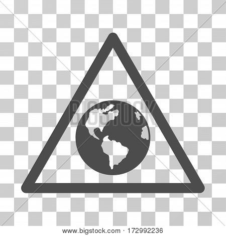 Earth Warning vector pictogram. Illustration style is flat iconic gray symbol on a transparent background.