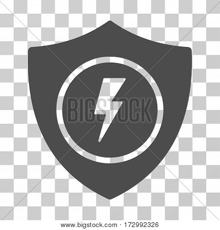 Electric Guard vector pictograph. Illustration style is flat iconic gray symbol on a transparent background.