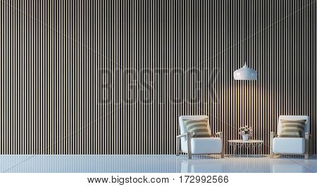 Modern living room interior 3d rendering image.  There are decorate wall with vertical wood pattern, white chair and lamp