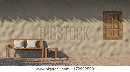 Clay house terrace 3D Rendering image display wall made of clay with thatched wooden floors old wood furniture warm sunny weather.