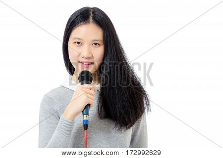 Chinese Teenager With Microphone
