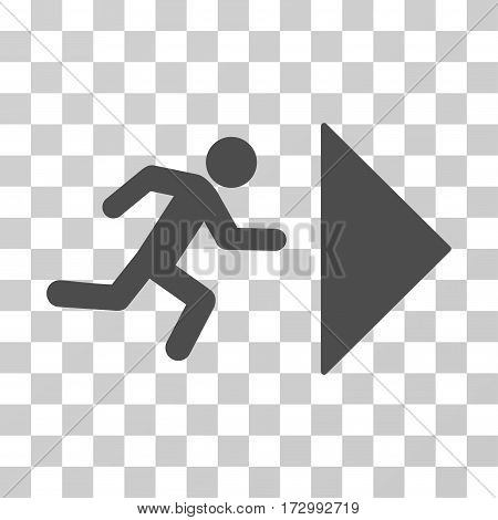 Exit Direction vector pictograph. Illustration style is flat iconic gray symbol on a transparent background.