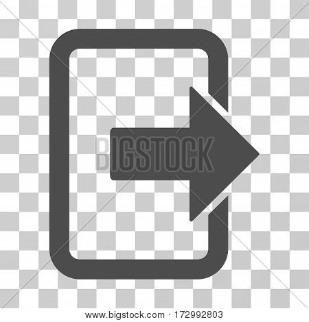 Exit Door vector pictogram. Illustration style is flat iconic gray symbol on a transparent background.