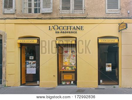 AIX-EN-PROVENCE FRANCE - JANUARY 31; Famous French beauty products retail store L'Occitane in Aix-en-Provence France - January 31 2016: L'Occitane is an international retailer of body face and fragrances based in Manosque France.