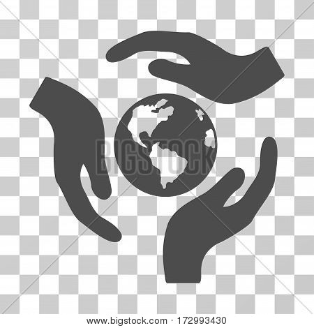 Global Care vector pictogram. Illustration style is flat iconic gray symbol on a transparent background.