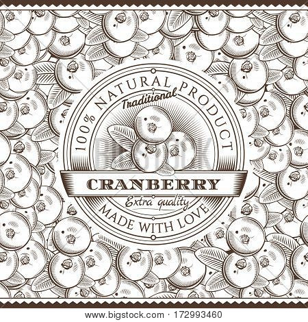 Vector label on seamless pattern in vintage style.