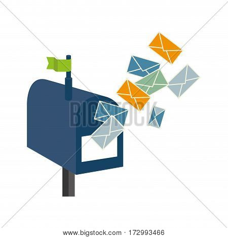 mailbox with envelope letter isolated icon vector illustration design