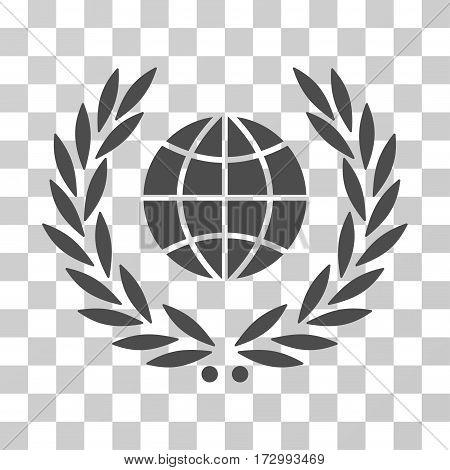 Global Emblem vector icon. Illustration style is flat iconic gray symbol on a transparent background.