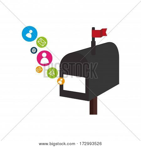 mailbox with social media icons vector illustration design