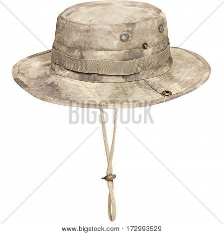Military cap, khaki helmet, isolated white background