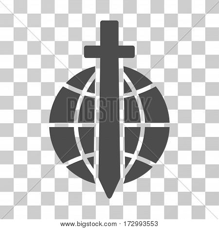 Global Guard vector icon. Illustration style is flat iconic gray symbol on a transparent background.