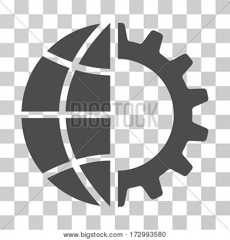 Global Industry vector pictogram. Illustration style is flat iconic gray symbol on a transparent background.