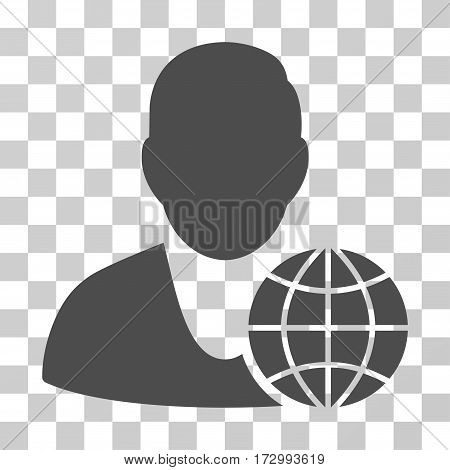 Global Manager vector icon. Illustration style is flat iconic gray symbol on a transparent background.