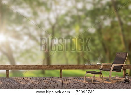 Wood terrace in the garden at morning time 3D rendering image There is a wooden floor wood Chair and garden background with blur