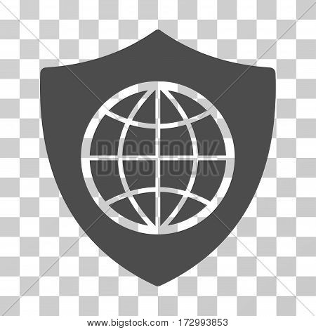 Global Shield vector pictogram. Illustration style is flat iconic gray symbol on a transparent background.
