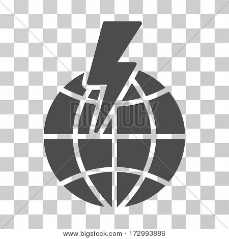 Global Shock vector icon. Illustration style is flat iconic gray symbol on a transparent background.