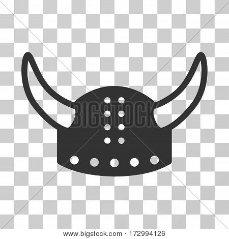 Horned Helmet vector pictogram. Illustration style is flat iconic gray symbol on a transparent background.