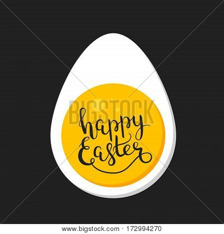 Happy Easter hand-drawn lettering decoration text in the egg frame, design template for greeting cards, invitations, banners, gifts, prints and posters, background with calligraphic inscription. EPS8.